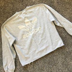 Adidas Retro Bleed Through Logo Crew Neck Raw Hem